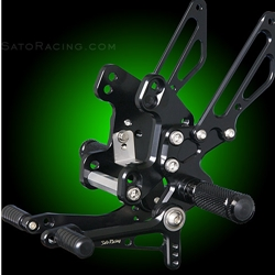 Sato Racing Rear Sets Kawasaki Ninja 1000 2011 2015 + Z1000 ABS 2011 2015 CNC Machined Billet Aluminum 8 Positions Black Anodized