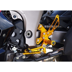Sato Racing Rear Sets Kawasaki Ninja 1000 + Z1000 2011 2015 CNC Machined Billet Aluminum 8 Positions Gold Anodized
