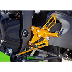 Sato Racing Rear Sets Kawasaki ZX 6R 636 Ninja 2013 Adjustable Billet Aluminum Gold Anodized