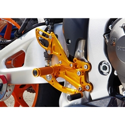 Sato Racing Rear Sets Honda CBR 600RR 2013 (non ABS) Fully Adjustable Billet Aluminum Silver Anodized