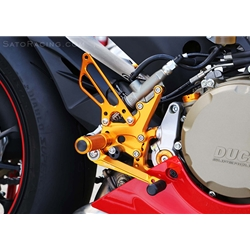 Sato Racing Rear Sets Ducati 899 1199 1299 Panigale Superbike 2011 2016 Billet Aluminum Adjustable Anodized Gold