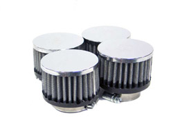 K&N Engineering - High Performance Air Filter - Universal - Round Straight/Centered Flange/Chrome Covers/Set Of 4/Cleanable & Reuseable