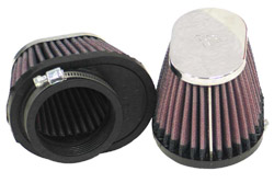 K&N Engineering - High Performance Air Filter - Universal - Oval Tapered/Offset Flange/Chrome Covers/Set Of 2/Cleanable & Reuseable