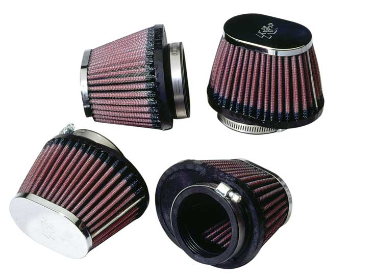 K&N Engineering - High Performance Air Filter - Mikuni RS Carburetors/Universal - Oval Tapered/Offset Flange/Chrome Covers/Set Of 4/Cleanable & Reuseable