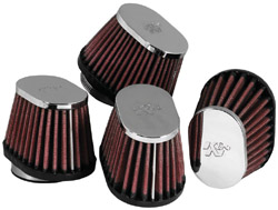 K&N Engineering - High Performance Air Filter - Universal - Oval Tapered/Offset Flange/Chrome Covers/Set Of 4/Cleanable & Reuseable