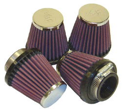 K&N Engineering - High Performance Air Filter - Universal - Round Tapered/Centered Flange/Chrome Covers/Set Of 4/Cleanable & Reuseable