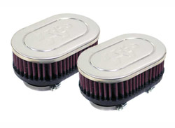 K&N Engineering - High Performance Air Filter - Universal - Honda CB 650 1981-1982/CBR 650C 1980-1981/Chrome Covers/Set Of 2/Cleanable & Reuseable