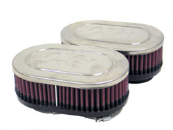K&N Engineering - High Performance Air Filter - Universal - Yamaha XJ 400 1981-1982/XJ 550 1981-1983/Chrome Covers/Set Of 2/Cleanable & Reuseable