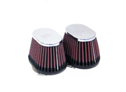 K&N Engineering - High Performance Air Filter - Universal - Yamaha RZ 350 1984-1985/Chrome Covers/Set Of 2/Cleanable & Reuseable