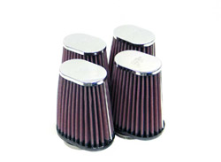 K&N Engineering - High Performance Air Filter - Universal - Oval Tapered/Offset Flange/Chrome Covers/Set Of 4/100mm x 70mm/Cleanable & Reuseable