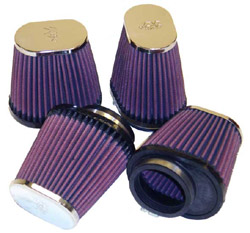 K&N Engineering - High Performance Air Filter - Universal - Oval Tapered/Offset Flange/Chrome Covers/Set Of 4/4