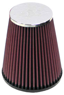 K&N Engineering - High Performance Air Filter - Universal - Round Tapered/Centered Flange/Turbo Applications/Chrome End/Dimensions Inside