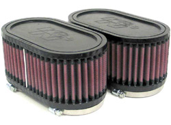 K&N Engineering - High Performance Air Filter - Universal - Oval Straight Element/Dual Straight Flanges/2 Filters Per Kit/6.5 x 3.75 x 3