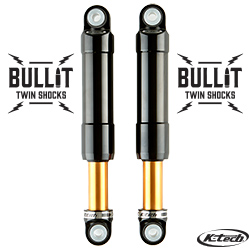 K-Tech Suspension Bullit Twin Shocks Harley Davidson Touring Models Black On Gold Nitrogen Pressurized Forged Aluminum