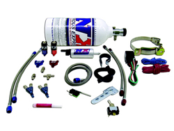 Nitrous Express - 2 Cylinder Piranha Nozzles Kit/2x 10oz Bottle/Polished/2'/With Fuel Pump/Billet Brackets