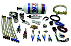 Nitrous Express - 4 Cylinder Pro Mod Funnybike Piranha Nozzle Kit/2.5lb Bottle/2'/With Fuel Pump