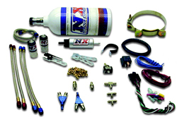 Nitrous Express - 2 Cylinder Single Piranha Nozzle Kit/2.5lb Bottle/2'/With Fuel Pump