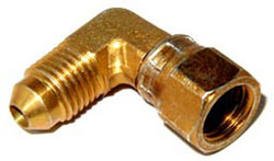 NOS - Nitrous - Fitting - Male Female AN Swivel/Brass/-4AN x -4AN/ Right Angle 90 deg/37 deg AN