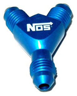 NOS - Nitrous - Fitting - Specialty Y /3x -4AN Male/Blue/37 deg