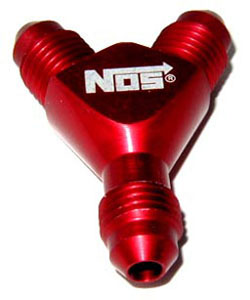 NOS - Nitrous - Fitting - Specialty Y /3x -4AN Male/Red/37 deg