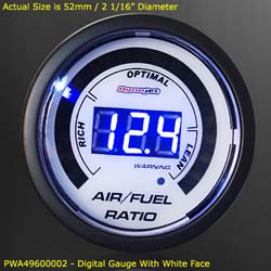 Dynojet - Wideband Commander 1 - Gauge Kit Only/52mm Digital Gauge/White Face/Requires Wideband Commander 1 Base Unit!!!