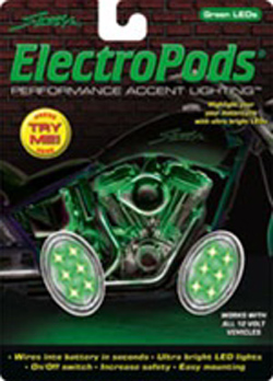 Yana Shiki - LED Electropod Kit - Two Chrome Oval Housings With Six Green LEDs Each