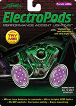 Yana Shiki - LED Electropod Kit - Two Chrome Oval Housings With Six Purple LEDs Each