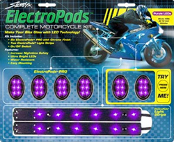 Yana Shiki - Sport Bike LED Electropod Kit - Six Black Oval Housings With Six Purple LED's Each/Two Black Strips With Six Linear Purple LED's Each