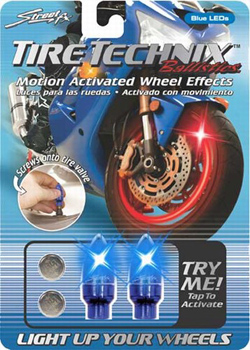 Yana Shiki - TireTechnix Ballistics Kit - Two Blue LED Motion Activated Valve Caps/With Extra Batteries