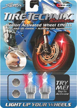 Yana Shiki - TireTechnix Ballistics Kit - Two Red/White/Blue LED Motion Activated Valve Caps/With Extra Batteries