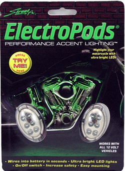 Yana Shiki - LED Electropod Kit - Two Chrome Oval Housings With Six White LEDs Each