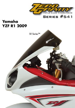 Zero Gravity SR Windscreen Yamaha YZF 1000 R1 2009 2014 Stock Replacement Dark Smoke Optically Correct Pre Drilled