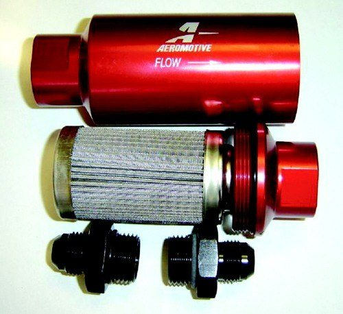 Orient Express Turbo Systems - Aeromotive - Billet Fuel Filter/100 Micron Coarse SS Element/High Flow/Replaceable Element/Billet Body/AN Fittings