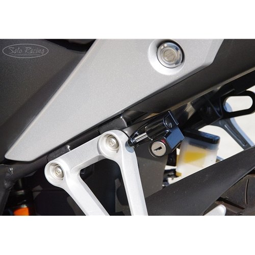 Sato Racing Helmet Lock - #H-C250HL-B CBR 250R 11-12/Black/Mounts Behind Left Rear Peg Bracket