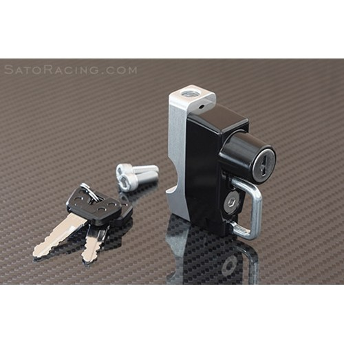 Sato Racing Helmet Lock Handlebar Master Cylinder Mount/32mm Mounting Centers/10mm Mirror Mount/Black Lock/Silver Base - #HL32-10-S Handlebar Master Cylinder Mount/32mm Mounting Centers/10mm Mirror Mount/Black Lock/Silver Base