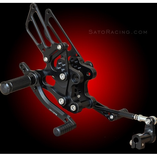 Sato Racing Rear Sets - #H-954RS-BK CBR 929RR Fireblade 00-01/CBR 954RR Fireblade 02-03/7 Positions/Black Anodized