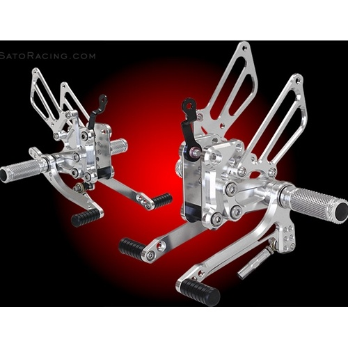 Sato Racing Rear Sets - #H-VFR814RS-SV VFR800F/Interceptor ABS 14-15 Silver Anodized