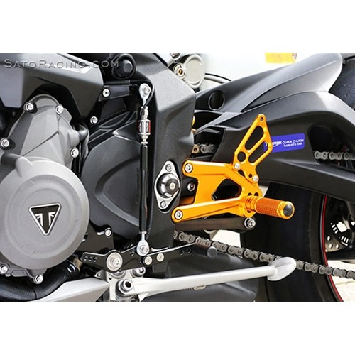 Sato Racing Rear Sets - #T-ST765RS-GD Street Triple R/S 765 17-18 Gold Anodized