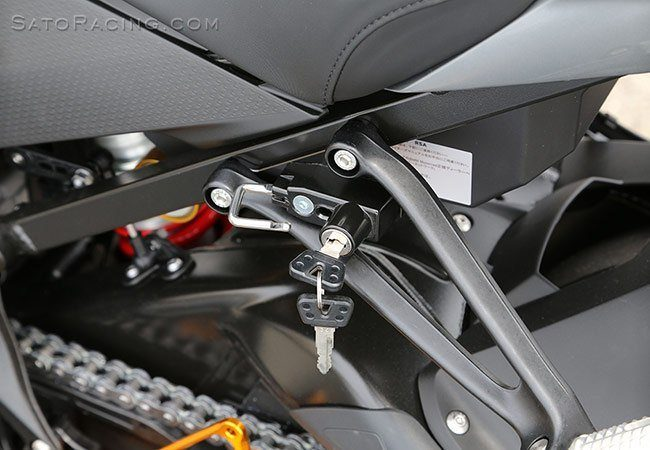 Sato Racing Helmet Lock - #BMW-S1HL-B S1000RR 09-17/CNC Machined Billet Aluminum Bracket/Includes 2 Keys/Black Anodized