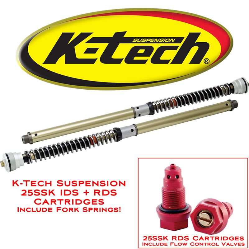 K-Tech Suspension 25SSK RDS Fork Cartridge Kit Honda RC30 VFR 750R 1987 1992 Springs Included