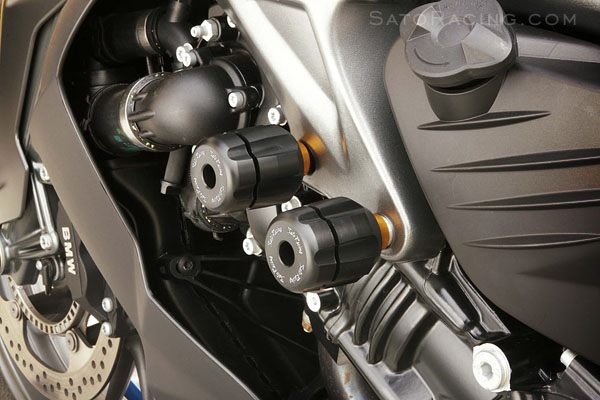 Sato Racing Frame Sliders - #BMW-K12FS-BK K 1200R 06-08/K 1300R 09-11/Black Delrin/Forward Upper Engine Mount