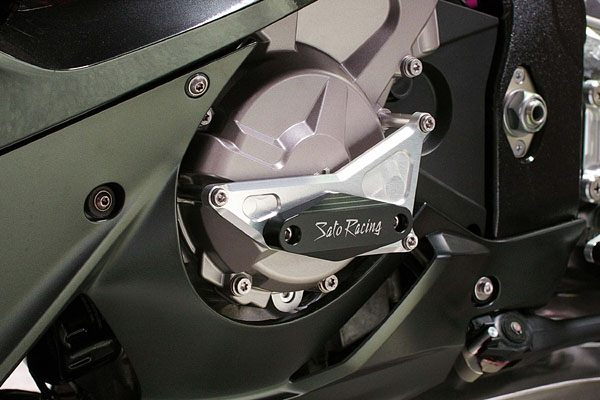 Sato Racing Engine Sliders - #BMW-S1ES-BK S1000RR 09-17/CNC Machined Billet Aluminum Mount Plates With Black Delrin Sliders/Stainless Hardware