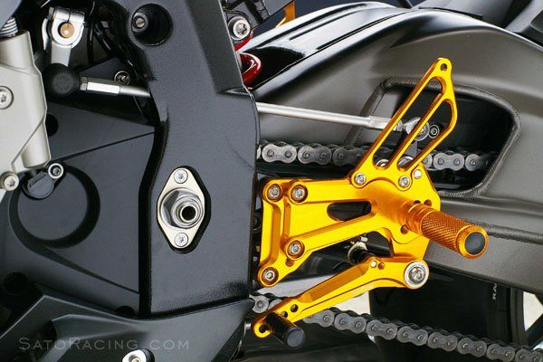 Sato Racing Rear Sets - #BMW-S1RSA-GD S1000RR 09-14 HP4 09-14/20 Positions/ABS Models/Gold Anodized