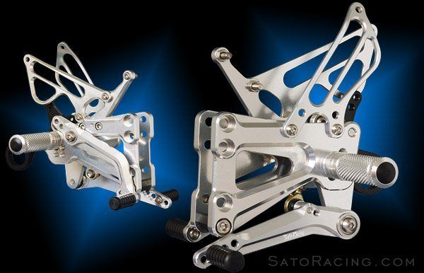 Sato Racing Rear Sets - #BMW-S1RSF-SV S1000RR 09-14 HP4 09-14/9 Positions/Non-ABS Models/Silver Anodized/Moves Pegs FORWARD & UP