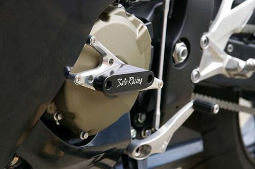 Sato Racing Engine Sliders - #H-CBR108ES-BK CBR 1000RR 08-11/CNC Machined Billet Aluminum Mounts/Black Delrin Sliders/No Fairing Modifications Required