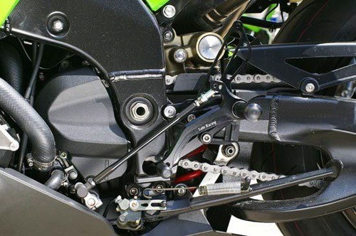 Sato Racing Rear Sets - #K-ZX106RSR-BK ZX 10R 1000 Ninja 06-07/Reverse Shift Only/6 Positions/Black Anodized