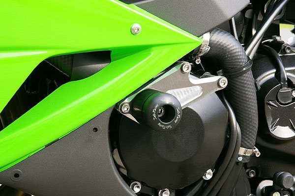 Sato Racing Engine Sliders - #K-ZX609ES-BK ZX 6R 600 Ninja 09-12/CNC Machined Billet Aluminum Mounting Brackets/Black Delrin Sliders/No Fairing Modifications Required