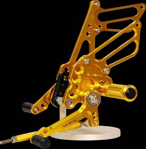 Sato Racing Rear Sets - #S-GSX107RS-GD GSXR 1000 07-08/Standard Or Reverse Shift/8 Positions (24)/Gold Anodized
