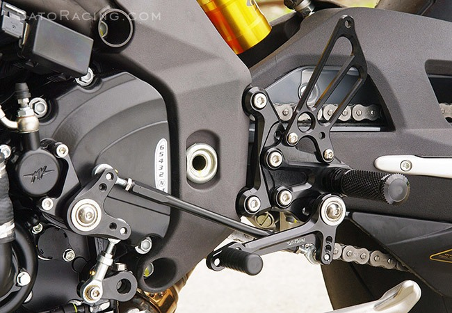 Sato Racing Rear Sets - #MV-F410RSR-BK F4 1000 Models 10-14/Reverse Shift Only/9 Positions Including Stock/Black Anodized